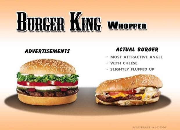 Фотограф сравнил бургеры в рекламе и в реальной жизни. Изображение № 1.
