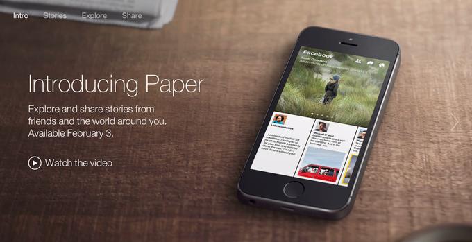 Facebook запускает новостное приложение Paper. Изображение № 1.
