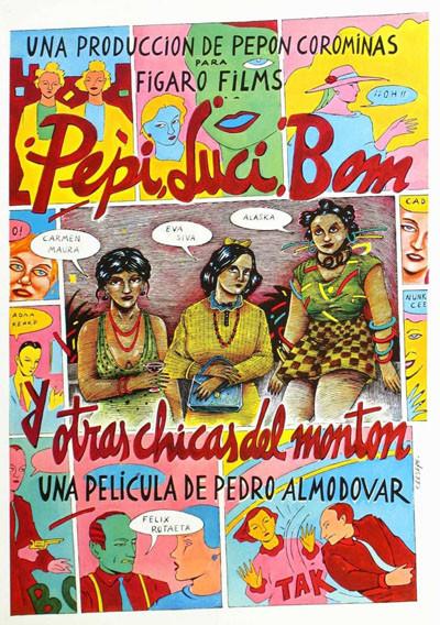 «Пепи, Люси, Бом и другие девушки» (1980). Эмансипе Пепи, у которой на подоконнике растет небольшая плантация марихуаны, пытается откупиться от засекшего кустики копа минетом, но он ее насилует; Пепи подговаривает лесбиянку-панк-рокершу Бом закатить ему взбучку, но позже девицы выясняют, что отмутузили его близнеца — тогда Пепи решает в качестве мести увести у него жену-мазохистку.. Изображение № 1.