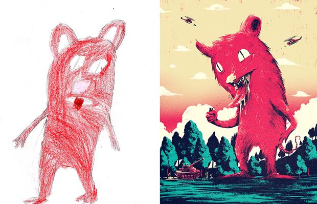 Художники создали монстров наоснове детских рисунков. Изображение № 10.
