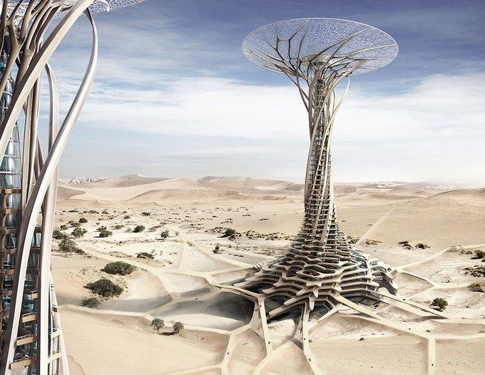 Китайские архитекторы предложили концепцию небоскрёба-гриба в Сахаре. Изображение № 1.