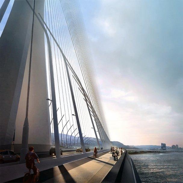 Бюро Захи Хадид создало вантовый мост c одной мачтой. Изображение № 6.