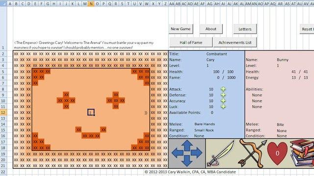 Канадский бухгалтер создал RPG-игру в Excel. Изображение № 1.