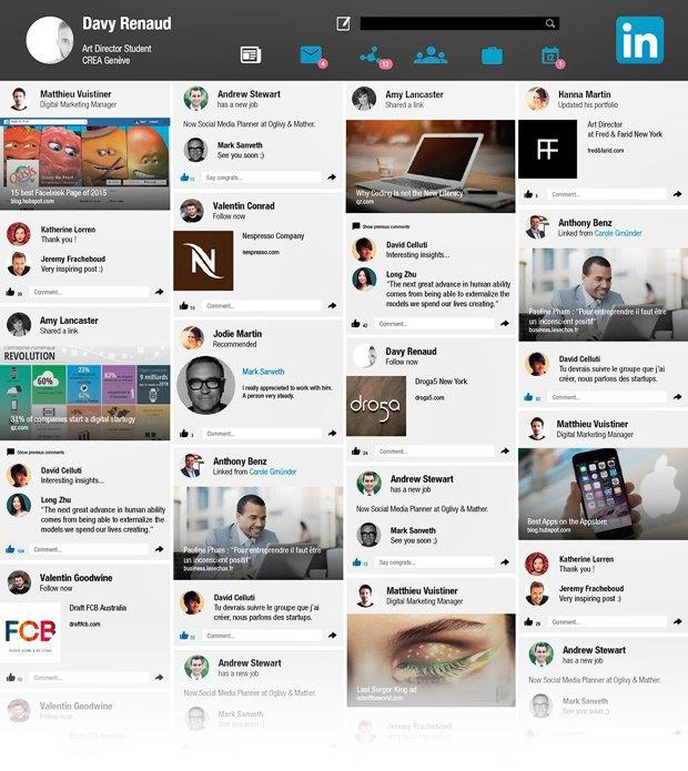 Редизайн дня: концепт веб-версии LinkedIn. Изображение № 1.