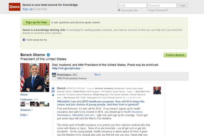 Скриншот профиля Барака Обамы. Изображение № 1.