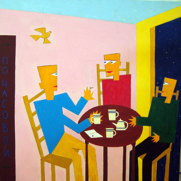 Андрей Крисанов, «Мастерская друга», 60 х 60 см, холст/масло/акрил, 2008г.. Изображение № 6.