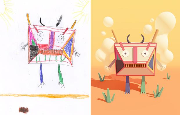 Художники создали монстров наоснове детских рисунков. Изображение № 9.