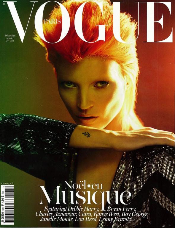 Обложка: Кейт Мосс в образе Дэвида Боуи для французского Vogue. Изображение № 1.