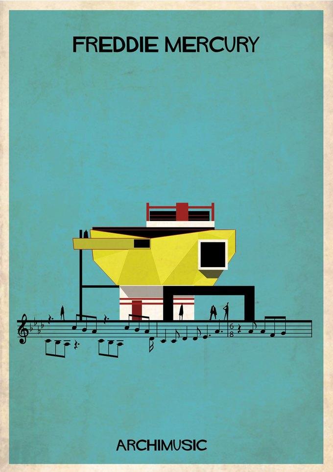Испанский архитектор превратила песни в здания для новой серии плакатов . Изображение № 2.