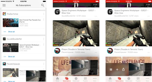 Свёрнутое видео в приложении YouTube для Android (слева), iPhone (по центру) и для iPhone в версии автора. Изображение № 6.