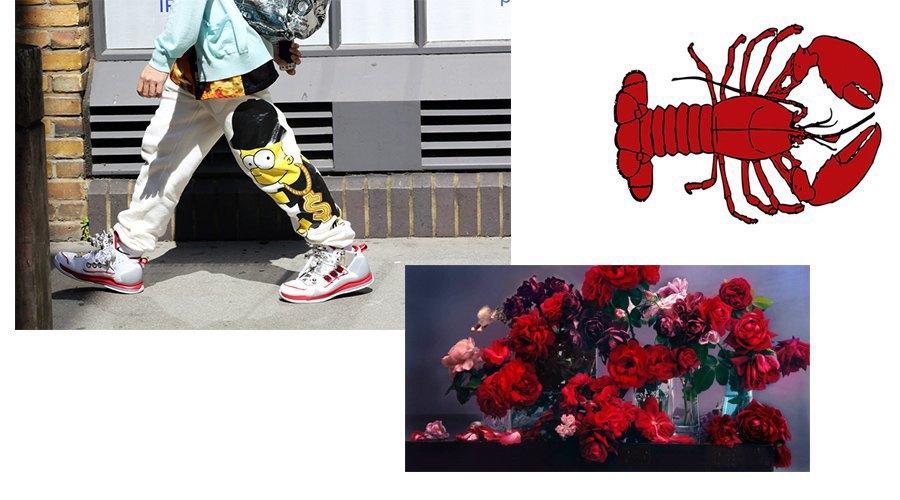 Слева направо, сверху вниз: стритвеар, лобстеры и розы. Изображение № 18.