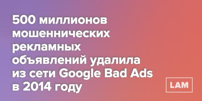 Число дня: сколько рекламных объявлений удалил Google в 2014 году . Изображение № 1.