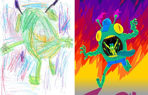 Художники создали монстров наоснове детских рисунков. Изображение № 23.