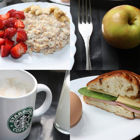 6 частей. Каша. Сандвич. Яйцо. Яблоко. Кефир. Капучино. Изображение № 1.