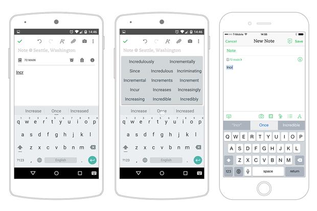Предугадывание слов в Android и iOS. Изображение № 3.