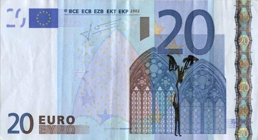 Художник в знак протеста изрисовал банкноты на 3555 евро. Изображение № 14.