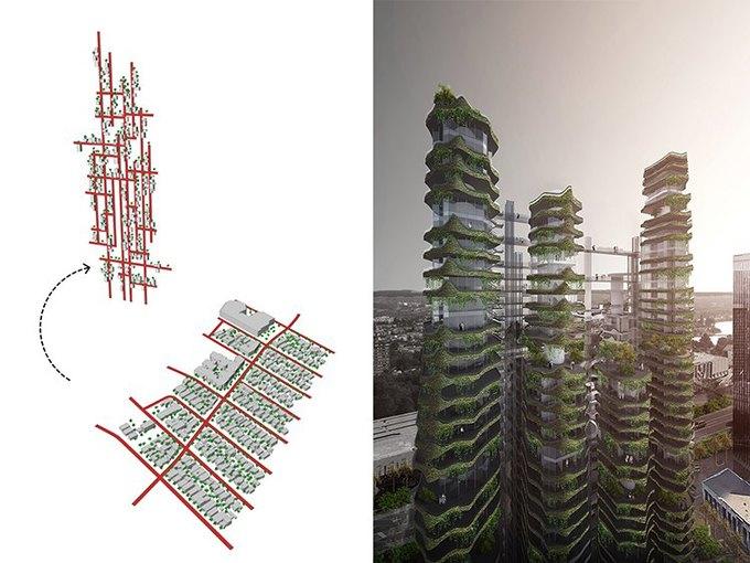 Архитектура дня: вертикальный квартал из 9небоскрёбов. Изображение № 4.
