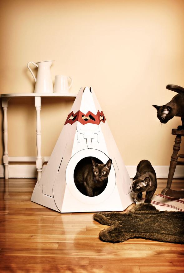 Кошачий домик из картона. Изображение № 3.