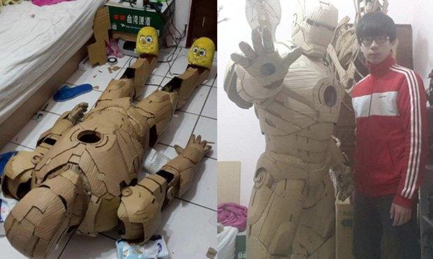 Художник сделал картонный костюм Железного Человека  . Изображение № 1.
