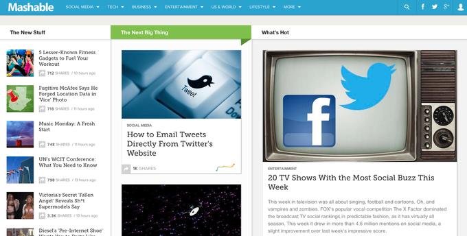 Сайт Mashable провел редизайн. Изображение № 1.