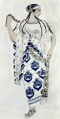 Эскиз костюма Елены Спартанской для Иды Рубинштейн, художник Лев Бакст. Изображение № 21.