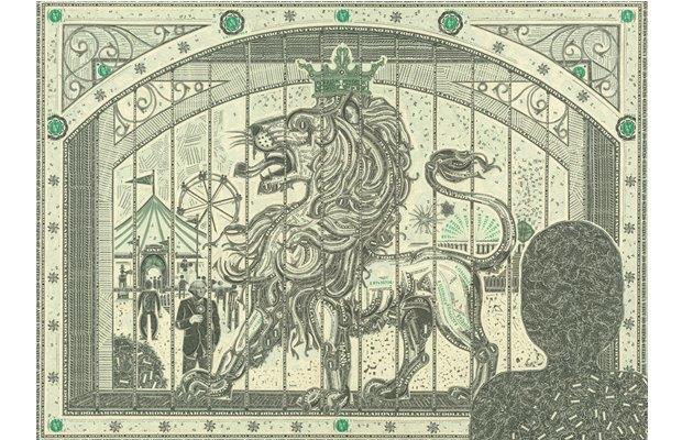Художник создаёт коллажи из долларов. Изображение № 5.