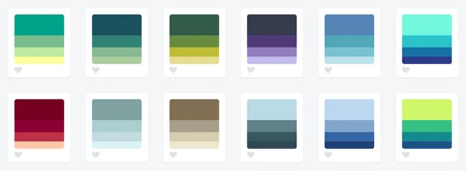 Градиентные палитры с сайта Color Hunt, цвета из которых будут плохо различаться на инфографике. Изображение № 5.