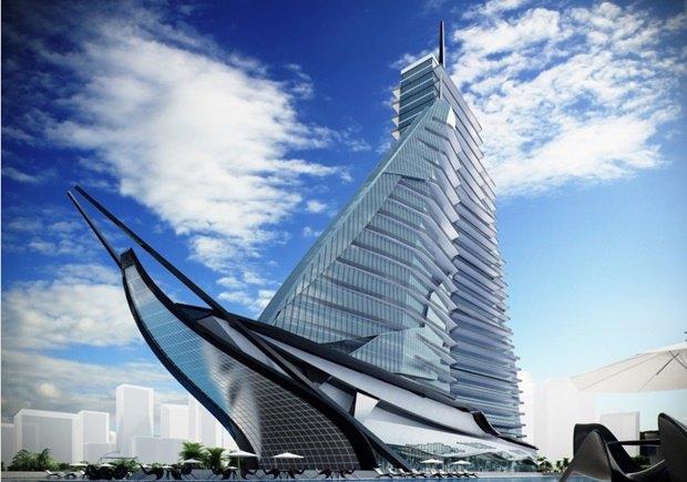 Российский архитектор показал больницу-небоскрёб в виде яхты. Изображение № 1.