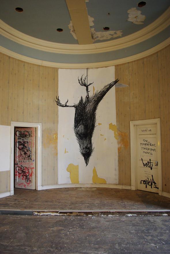 Животный стрит-арт от бельгийского граффитчика ROA. Изображение № 48.