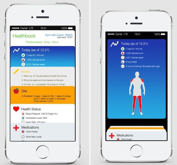 Опубликован возможный вариант дизайна Healthbook для iOS 8. Изображение № 1.