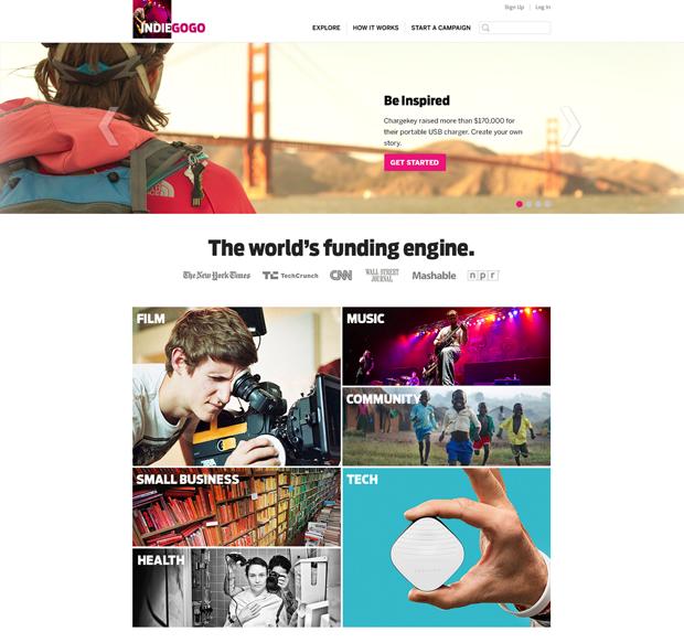 Indiegogo представила новое лого и редизайн сайта. Изображение № 1.