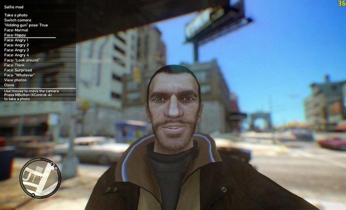 Мод позволяет делать селфи в GTA IV . Изображение № 1.