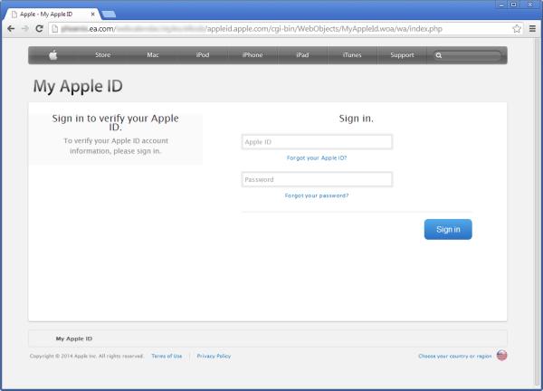 Фальшивая форма Apple ID на сайте ea.com. Изображение № 1.