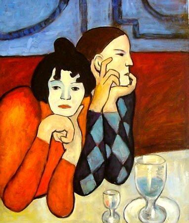 Пабло Пикассо, Арлекин и его ассистентка в кафе. Изображение № 32.