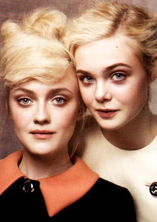 Эль и Дакота Феннинг в съёмке Vogue, август 2011. Изображение №28.