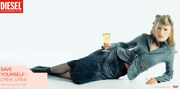 В рекламной кампании 2001 года Save Yourself Diesel призывают пить мочу, чтобы выглядеть моложе. Изображение № 2.