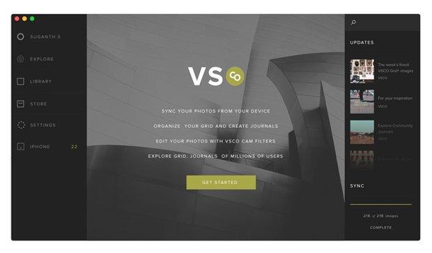 Дизайнер создал концепт приложения VSCO Cam для OS X. Изображение № 1.