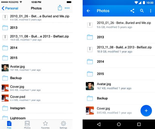 Сравнение навигации в официальном Dropbox для iOS и в концепте для Android . Изображение № 4.