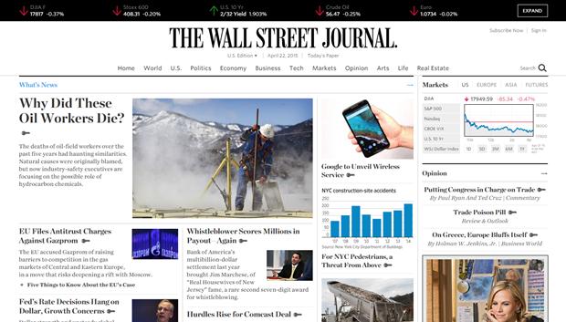 Сайт The Wall Street Journal обновили впервые с 2008 года. Изображение № 1.