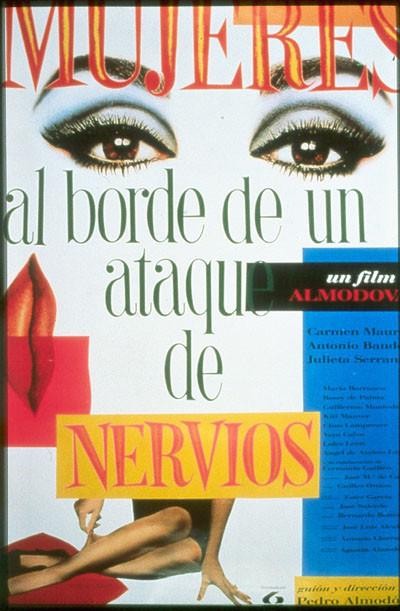 «Женщины на грани нервного срыва» (1988). Феминистская комедия про актрису, которую бросил любовник и которая двое суток ищет его, чтобы объясниться —а вместо этого встречает его полубезумную жену и новую пассию.. Изображение № 2.