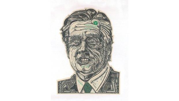Художник создаёт коллажи из долларов. Изображение № 4.