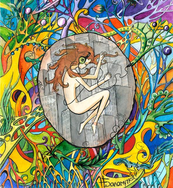Музыка внутри.  Тут пояснить надо, возможно. Девушка в позе эмбриона, а шнур от наушников намекает на пуповину, через которую проходит связь с миром ,более настоящим и живым ,чем тот, в котором проходят наши будни). Изображение №16.