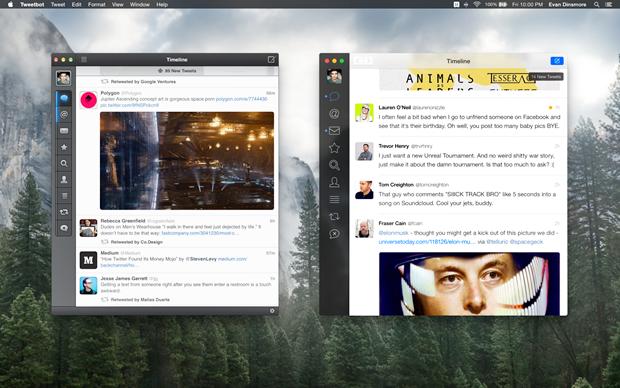 Существующее приложение Tweetbot (слева) и концепт автора. Изображение № 2.