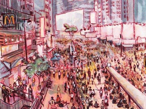 Художник представил скетчи о протестах в Гонконге. Изображение № 3.