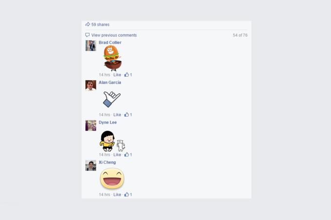 В Facebook теперь можно комментировать стикерами. Изображение № 1.