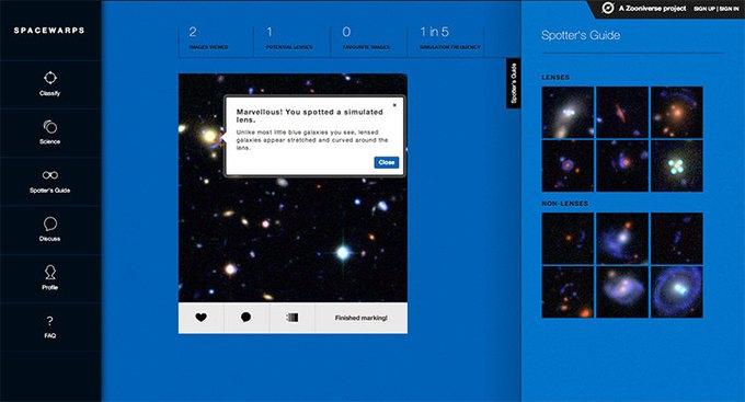 Сайт Spacewarps.org позволяет любому желающему стать астрофизиком . Изображение № 2.