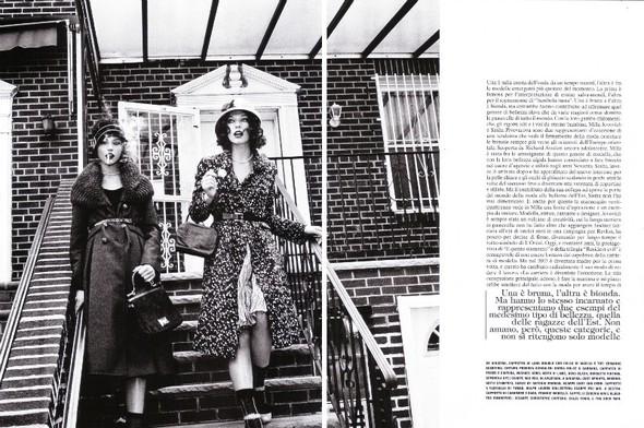 Архивная съёмка: Мила Йовович и Саша Пивоварова для Vogue, 2009. Изображение № 1.