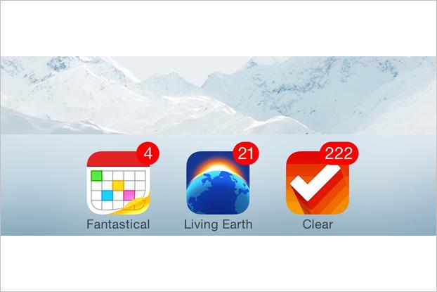 Примеры использования счётчика на иконках Fantastical, Living Earth и Clear. Изображение № 2.