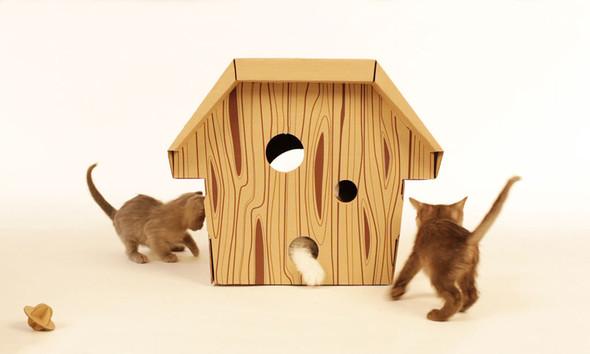 Кошачий домик из картона. Изображение № 7.