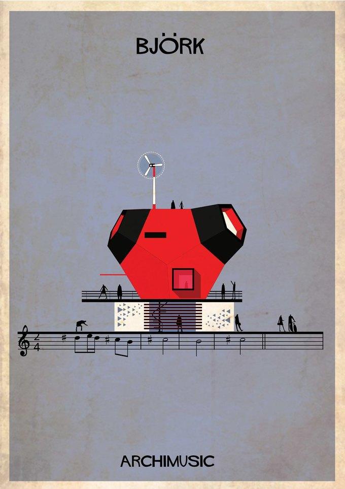 Испанский архитектор превратила песни в здания для новой серии плакатов . Изображение № 15.